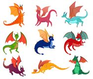 Cute Fairy Dragons Set. Fairy dragons set of flat isolated images of colourful wyverns with horning on blank background vector illustration Royalty Free Stock Photos