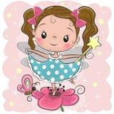 Cute fairy on the flower. Cute Cartoon fairy girl on the flower stock illustration