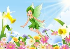 Cute fairy flying on flower field. Illustration of Cute fairy flying on flower field Stock Photography