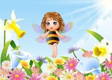 Cute fairy flying on flower field. Illustration of Cute fairy flying on flower field Royalty Free Stock Image