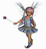 A cute fairy girl with blue dress and wand. A 3D rendered image of a cute fairy girl with a blue dress and star wand in her hand. Ideal for design projects Stock Image
