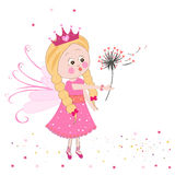 Cute fairy girl with dandelion vector background Stock Image