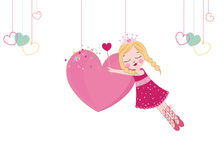 Cute fairy girl holding heart Stock Photos