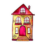 Cute fairy house watercolor illustration. Hand painted illustration can be used for cute print design for greeting Stock Image