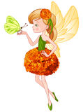 Cute Fairy. Illustration of flying beautiful cute fairy holds butterfly Stock Image