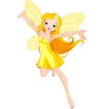 Cute fairy. Illustration of a cute yellow fairy in flight Royalty Free Stock Photo
