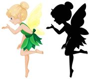 Cute fairy and its silhouette. Illustration Royalty Free Stock Photography