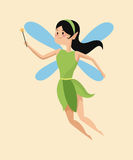Cute fairy magic wand flying green dress. Vector illustration eps 10 Stock Photo