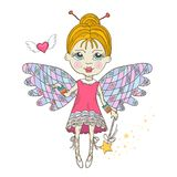 Cute Fairy with magic wand. Isolated on a white background yand draw style Stock Photography