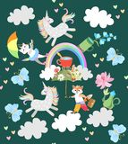Cute fairy pattern with funny animals: pony unicorn, kitten caticorn, little fox, blue butterflies. Clouds and rainbow, teapot and cups of tea. Wallpaper vector illustration