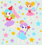Cute Fairy Princess Character with Wings Stock Photos