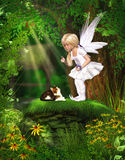 Cute Fairy. A cute fairy protects two birds from a cat. A wounderful fantasy Scene Stock Photos