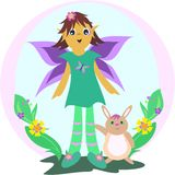 Cute Fairy with Rabbit in a Garden Stock Images