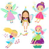 Cute fairy set. Beautiful girl in fying fairy costumes. Winged elf princesses in cartoon style. Cute Fairy set. Beautiful girl in fying fairy costumes. Funny Stock Photos