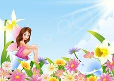 Cute fairy sitting on flower field. Illustration of Cute fairy sitting on flower field Royalty Free Stock Photo