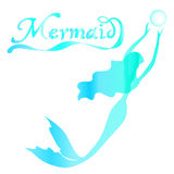 Cute fairy swimming mermaid. With long curly hair silhouette  illustration of turquoise on a white background with the words mermaid Stock Photos