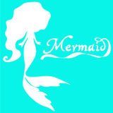 Cute fairy swimming mermaid. With long curly hair silhouette  illustration of white on a  turquoise  background Royalty Free Stock Photo
