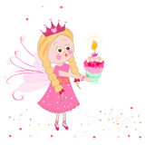Cute fairy tale with birthday cake vector Royalty Free Stock Image