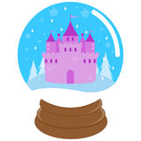 Cute fairy tale castle inside a snow globe Stock Photos