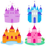 Cute fairy tale castles set. Beautiful fairy tale castles vector set Royalty Free Stock Photo