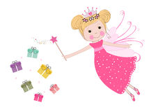 Cute fairy tale with colorful gift box vector background Royalty Free Stock Photo