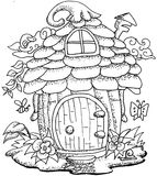 Cute fairy tale doodle mushrooms house for coloring book for adult Stock Photo