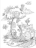 Cute fairy tale doodle mushrooms house for coloring book for adult Stock Image