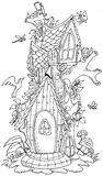 Cute fairy tale doodle mushrooms house for coloring book for adult Royalty Free Stock Photography