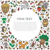 Cute fairy tale elements. Frame, border, text template. Flyer, card design for kindergarten. Vector illustration. vector illustration
