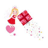 Cute fairy tale holding a gift box with hearts Royalty Free Stock Images