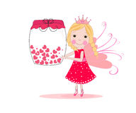 Cute fairy tale holding heart jar vector background Stock Photography