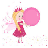 Cute fairy tale inflating a balloon vector background Stock Photos