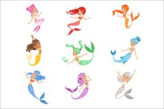 Cute fairy tale mermaid princess with colorful hair and taill set of vector Illustrations. On a white background royalty free illustration