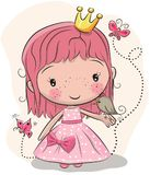 Cute fairy-tale Princess and a bird. Cute fairy-tale Princess with bird on a pink background Stock Image
