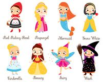Free Cute Fairy Tales Characters. Snow White, Red Riding Hood, Rapunzel, Cinderella And Other Princess In Cartoon Style Royalty Free Stock Image - 164263486