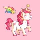 Cute fairy unicorn. Cartoon rainbow pony. Funny horse girlish pink vector background stock illustration
