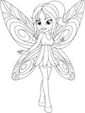 Cute fairy with wingsn. Vector illustration, cute little fairy with wings, white background, coloring page Royalty Free Stock Photos