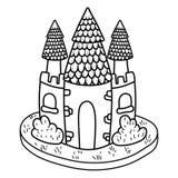 Cute fairytale castle icon stock illustration