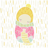 Cute fairytale character knits a scarf vector. Cute fairytale character knits a scarf. Baby illustration in pink, yellow colors, vector elements. For design of Royalty Free Stock Image