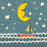 Cute fairytale illustration with dark ocean Royalty Free Stock Photos