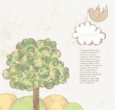Cute fairytale landscape vector illustration. Cute vintage fairytale stylized landscape vector illustration Royalty Free Stock Images
