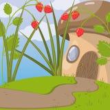 Cute fairytale mushroom house vector illustration, cartoon style Stock Images
