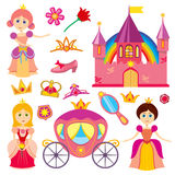 Cute fairytale princess, pink carriage, crown, castle, cartoon little girl tiara vector set. Cute fairytale princess, pink carriage, crown, princess castle vector illustration