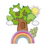 Cute fairytale tree with rainbow stock illustration