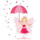 Cute fairytale with umbrella and heart rain vector background Royalty Free Stock Image