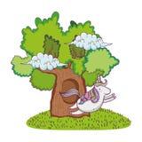 Cute fairytale unicorn with tree stock illustration