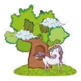 Cute fairytale unicorn with tree vector illustration