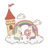 Cute fairytale unicorns with castle in the clouds vector illustration