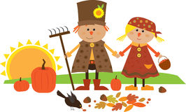 Cute Fall Character. Cute vector illustration of scarecrow couple holding hands. Eps10 Royalty Free Stock Images