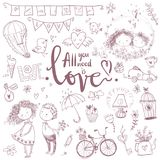 Cute fall in love collection. Nice romantic  elements. F. Lowers, couples, gifts, decorations and romantic atmosphere things. Vector illustration Royalty Free Stock Image